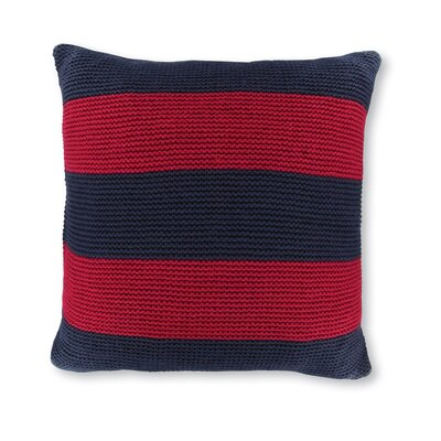 18 Crew Striped Knit Decorative Throw Pillow Color: Navy/Red