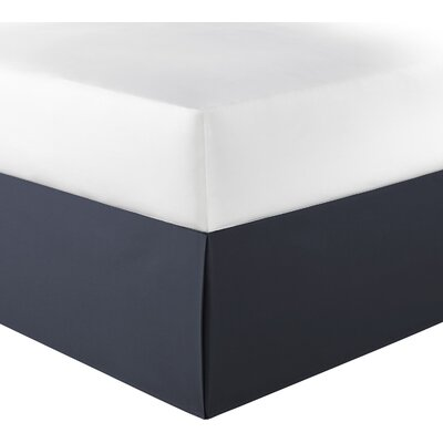 Solid Bedskirt 100% Cotton Fitted Bed Skirt Size: King, Color: Navy