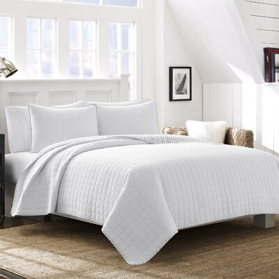 Maywood Cotton Quilt Set Color: White, Size: Full/Queen