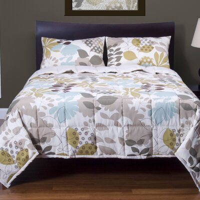 English Garden 3 Piece Reversible Duvet Cover Set Size: Queen