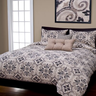 Sumatra Duvet Cover Set Color: Graphite, Size: Queen