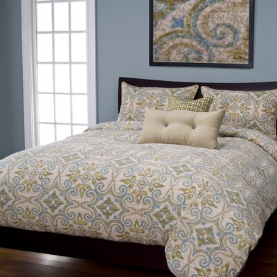 Sumatra Duvet Cover Set Size: Queen, Color: Citron