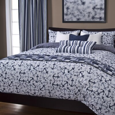 Renate Anchors Away Duvet Cover Set Color: Blue, Size: Queen