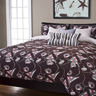 First Mate Duvet COver Set Size: Full, Color: Sand