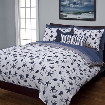 Flintwood Shell Bay Duvet Cover Set Color: Blue, Size: Queen