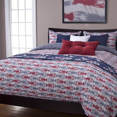 Johnstown Crustacean Duvet Cover Set Color: Blue, Size: Full