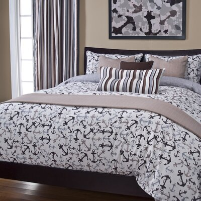 Anchors Away Duvet Cover Set Size: Twin, Color: Sand
