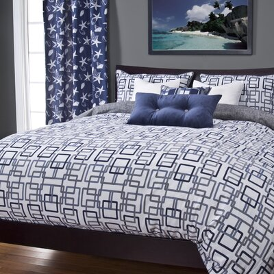 Alaina Edgewater Duvet Cover Set Color: Blue, Size: Queen