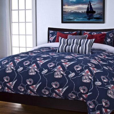 Islip First Mate Duvet COver Set Color: Blue, Size: Full