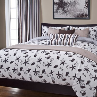 Flintwood Shell Bay Duvet Cover Set Size: Twin, Color: Sand