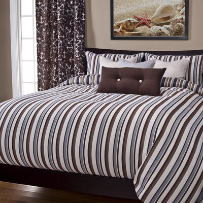 Johnsburg Beachcomber Stripe Duvet Cover Set Size: Full, Color: Sand