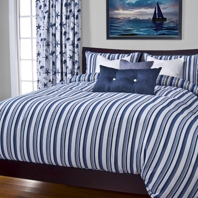 Johnsburg Beachcomber Stripe Duvet Cover Set Size: California King, Color: Blue