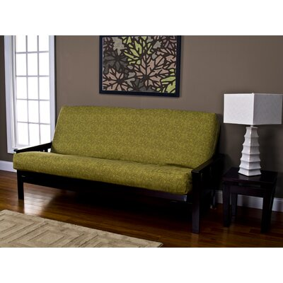 Lush Leaves Zipper Box Cushion Futon Slipcover Size: 7 in. Full