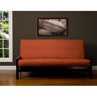 Box Cushion Futon Slipcover Size: 7 in. Full, Upholstery: Henna