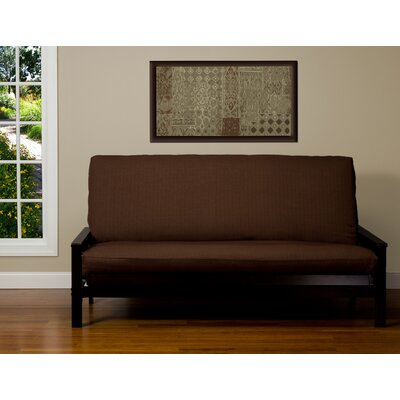 Box Cushion Futon Slipcover Size: Twin, Upholstery: Chocolate