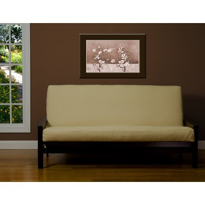 Box Cushion Futon Slipcover Size: 6 in. Full, Upholstery: Cream