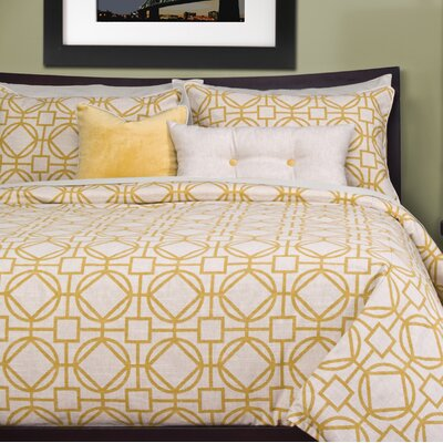 Applewood Duvet Cover Set Color: Lemon, Size: Queen
