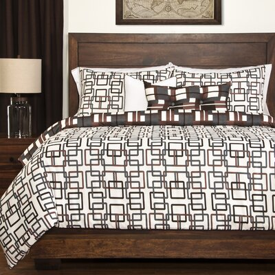 Plaid Reversible Duvet Cover Set Size: King