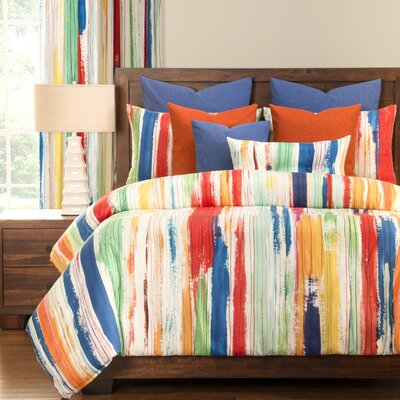 Sketchy Stripe Duvet Cover Set Size: Queen