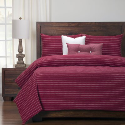 Burlap Duvet Set Size: King, Color: Brick