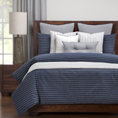 Burlap Duvet Set Size: King, Color: Indigo