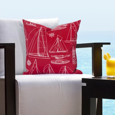 Willis Regatta Outdoor Throw Pillow Size: 20 H x 20 W x 6 D, Color: Red