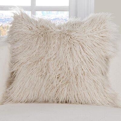 Leblanc Faux Fur Throw Pillow Size: 20 H x 20 W x 6 D, Color: Cream
