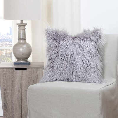 Leblanc Faux Fur Throw Pillow Size: 20 H x 20 W x 6 D, Color: Silver