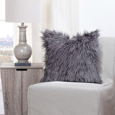 Leblanc Faux Fur Throw Pillow Size: 16 H x 16 W x 6 D, Color: Charcoal