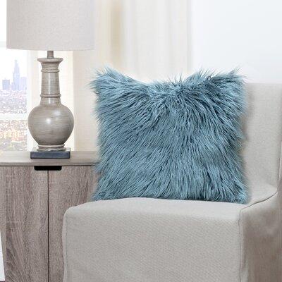 Leblanc Faux Fur Throw Pillow Size: 20 H x 20 W x 6 D, Color: Teal