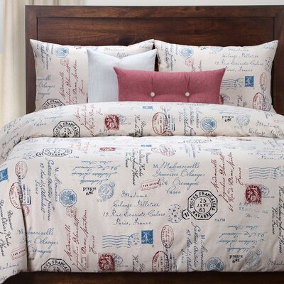 Eaucourt Linen Duvet Set Size: Full, Color: Blue