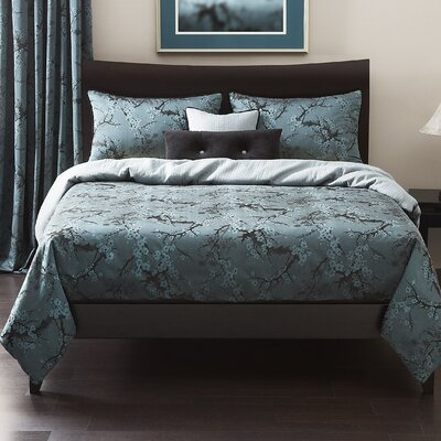 Cherry Blossom Duvet Set Color: Azure, Size: Full