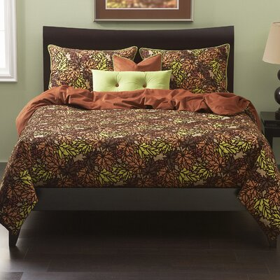 Pressed Leaf Duvet Cover Set Size: Twin, Color: Copper