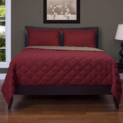 Baddeley 3 Piece Reversible Quilt Set Size: Queen, Color: Red / Brown