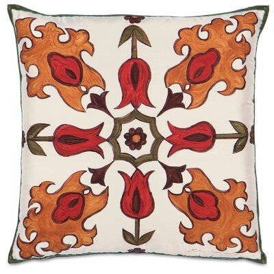 Folkloric Tulip Fire Silk Throw Pillow