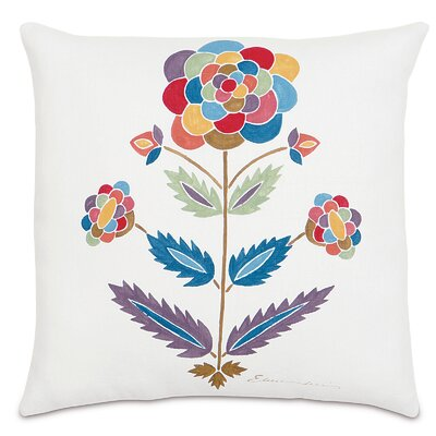 Folkloric Whimsical Flower Linen Throw Pillow