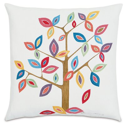 Folkloric Whimsical Tree Linen Throw Pillow