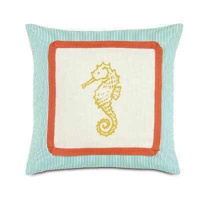 Tropical Sunny Seahorse Linen Throw Pillow