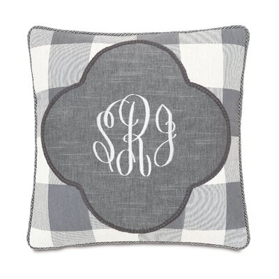 Hampshire Duvall Slate Monogrammed Throw Pillow