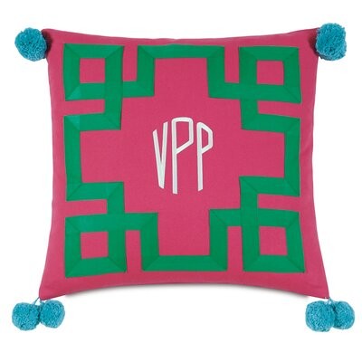 Epic Preppy Embroidered 3-Letter Monogram Throw Pillow