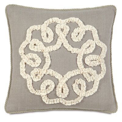 Sabelle Breeze Linen Ruffled Ribbon Down Throw Pillow