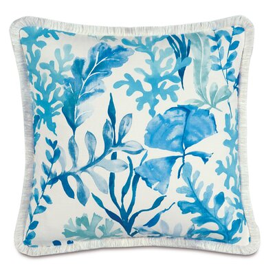 Olympia Azure Brush Fringe Down Throw Pillow