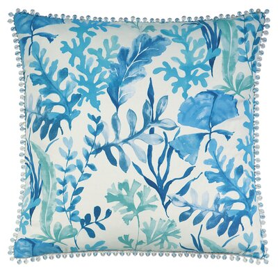 Olympia Azure Beaded Trim Throw Pillow