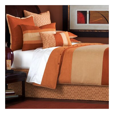 Mondrian Canyon Button-Tufted Comforter Size: Super Queen, Color: Brown and Gold