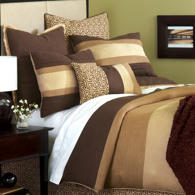 Mondrian Haberdash Hand-Tacked Comforter Size: King, Color: Brown