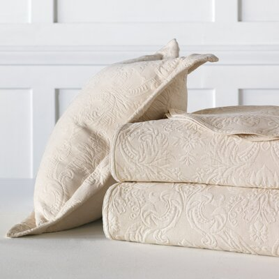 Sandrine Matelasse Cotton Coverlet Color: Ecru, Size: Full