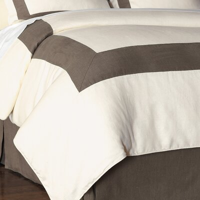 Breeze Mitered Polyester Button-Tufted Comforter Color: Pearl/Clay, Size: King