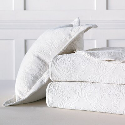 Sandrine Matelasse Cotton Coverlet Color: White, Size: Super King