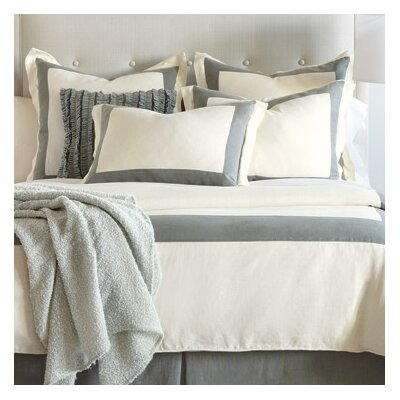 Breeze Mitered Polyester Button-Tufted Comforter Size: Twin, Color: Pearl/Slate