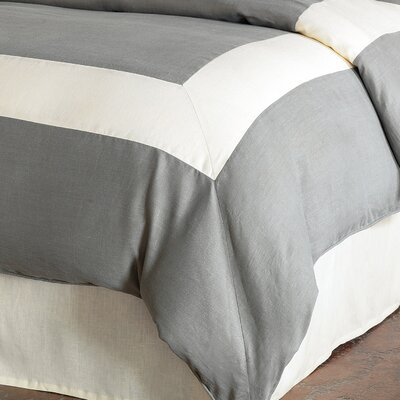 Breeze Mitered Polyester Button-Tufted Comforter Color: Slate/Pearl, Size: Queen